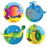 Grupo do vetor de imagens da vida marinha Imagem de Stock