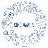 Grupo do vetor de imagens do jardim de infância Fotos de Stock