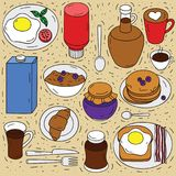 Grupo do vetor de ingredientes para o café da manhã Imagem de Stock