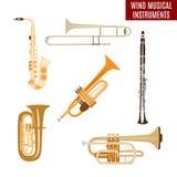 Grupo do vetor de instrumentos musicais do vento no fundo branco Fotografia de Stock