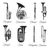 Grupo do vetor de instrumentos musicais do vento preto e branco Foto de Stock
