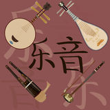 Grupo do vetor de instrumentos musicais e de fundo chineses dos hieróglifos da música Imagem de Stock