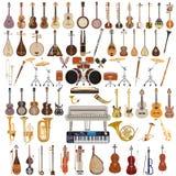 Grupo do vetor de instrumentos musicais no estilo liso Foto de Stock Royalty Free