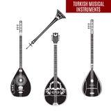 Grupo do vetor de instrumentos musicais turcos tradicionais no estilo liso Fotografia de Stock