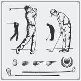 Grupo do vetor de jogadores de golfe e de elementos do golfe Fotografia de Stock Royalty Free