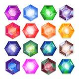 Grupo do vetor de joias brilhantes coloridas Fotografia de Stock