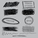Grupo do vetor de lápis do grunge pena-como cursos Ilustração EPS10 do vetor Imagens de Stock Royalty Free
