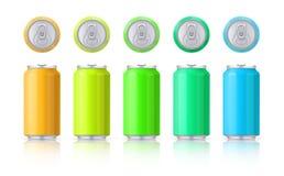 Grupo do vetor de latas de alumínio coloridas lustrosas Molde em um fundo branco com reflexão Vetor ilustração royalty free