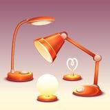 Grupo do vetor de leitura-lâmpadas realísticas do escritório Fotos de Stock Royalty Free