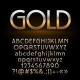 Grupo do vetor de letras, de símbolos e de números brilhantes do ouro no fundo escuro Fotografia de Stock