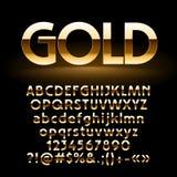 Grupo do vetor de letras, de símbolos e de números dourados brilhantes Fotografia de Stock