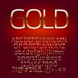 Grupo do vetor de letras do alfabeto do ouro, símbolos, números Fotografia de Stock