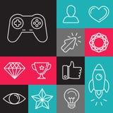 Grupo do vetor de linha ícones do jogo Imagem de Stock