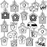 Grupo do vetor de linha bonito Art Birdhouses Imagem de Stock
