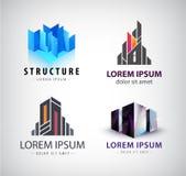 Grupo do vetor de logotipos da construção 3d estrutura, casa, escritório Imagem de Stock Royalty Free