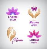 Grupo do vetor de logotipos dos termas Lotus, massagem, mãos com ícones do salão de beleza da borboleta, sinais Fotos de Stock