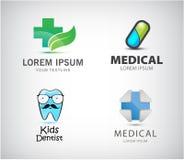 Grupo do vetor de logotipos médicos Ícone do comprimido, cruz azul, dentista das crianças, farmácia ilustração royalty free
