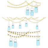 Grupo do vetor de luzes de vidro de suspensão do frasco Fotos de Stock Royalty Free