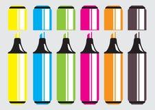 Grupo do vetor de marcadores, highlighteres, penas de ponta de feltro Imagens de Stock Royalty Free
