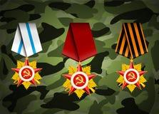 Grupo do vetor de medalhas militares Imagens de Stock