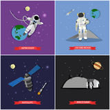Grupo do vetor de missão espacial, ilustrações do conceito da exploração, estilo liso ilustração do vetor