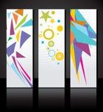 Grupo do vetor de molde colorido de três bandeiras. Foto de Stock