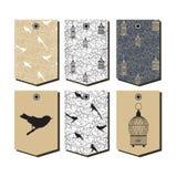 Grupo do vetor de moldes do projeto de empacotamento com pássaros e símbolos dos birdcages do vintage Fotos de Stock