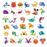 Grupo do vetor de monstro bonitos dos desenhos animados Imagens de Stock Royalty Free