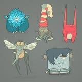 Grupo do vetor de monstro bonitos dos desenhos animados das ilustrações Fotos de Stock