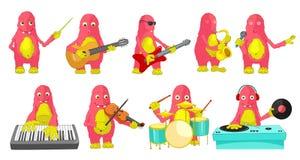 Grupo do vetor de monstro que jogam ilustrações da música ilustração stock