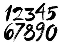 Grupo do vetor de números caligráficos do acrílico ou da tinta, rotulação da escova ilustração stock