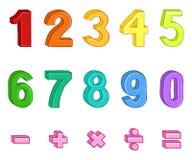 Grupo do vetor de números multicoloridos dos desenhos animados e de sinais matemáticos ilustração stock