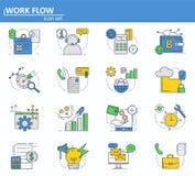 Grupo do vetor de negócio e ícones digitais do dinheiro na linha estilo fina Web site UI e ícone móvel do app da Web Projeto do e ilustração stock