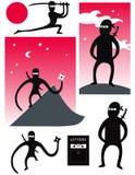 Grupo do vetor de ninjas bonitos Fotografia de Stock