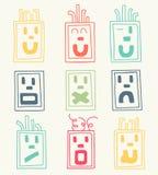Grupo do vetor de nove caras, emoticons Imagens de Stock