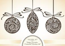 Grupo do vetor de objetos decorativos decorativos do vintage e símbolos do Natal Foto de Stock