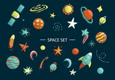 Grupo do vetor de objetos do espaço ilustração royalty free