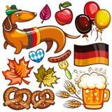Grupo do vetor de Oktoberfest de ícones e de objetos ilustração royalty free