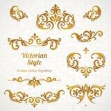 Grupo do vetor de ornamento do vintage no estilo vitoriano Imagens de Stock