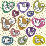 Grupo do vetor de pássaros bonitos dos desenhos animados Imagens de Stock Royalty Free