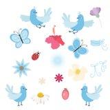 Grupo do vetor de pássaros, de flores e de borboletas Fotos de Stock Royalty Free