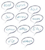 Grupo do vetor de palavra da água em línguas diversas Foto de Stock