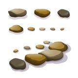 Grupo do vetor de pedregulhos e de pedras diferentes Imagem de Stock Royalty Free
