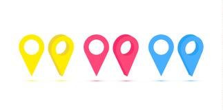 Grupo do vetor de pinos isolados real?sticos do mapa no fundo branco Conceito da navega??o, transporte, entrega e ilustração royalty free