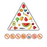 Grupo do vetor de pirâmide de alimento saudável Imagens de Stock