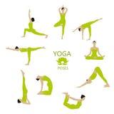 Grupo do vetor de poses da ioga A menina faz exercícios da ioga Fotografia de Stock