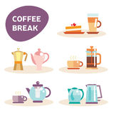Grupo do vetor de potenciômetro e de café do chá Fotos de Stock Royalty Free