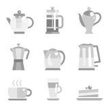 Grupo do vetor de potenciômetro e de café do chá Imagens de Stock Royalty Free