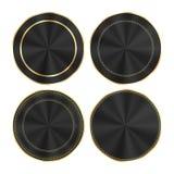 Grupo do vetor de preto lustroso colorido com as medalhas redondas do ouro e dos círculos céntricos que podem ser usadas como bot ilustração royalty free