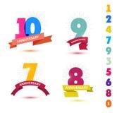Grupo do vetor de projeto dos números do aniversário 10, 9, 7, 8 ícones, composições com fitas Imagem de Stock Royalty Free